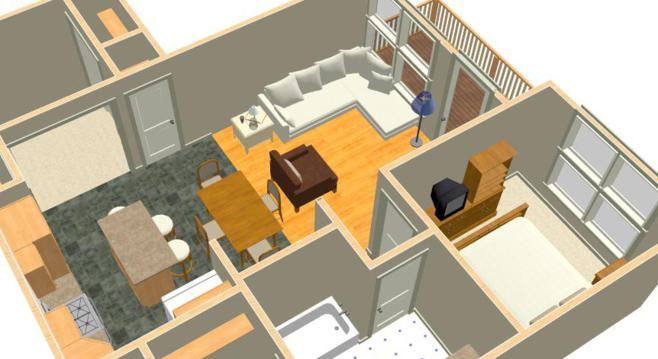 A 3D view of a bedroom addition