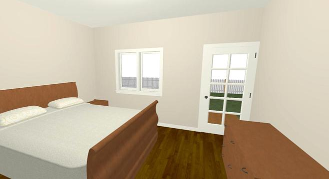 The interior of the master bedroom addition .